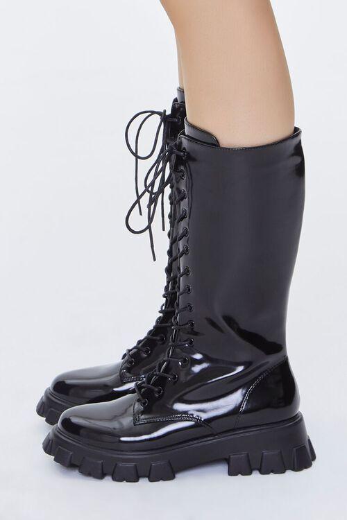 BLACK Faux Patent Leather Boots, image 2
