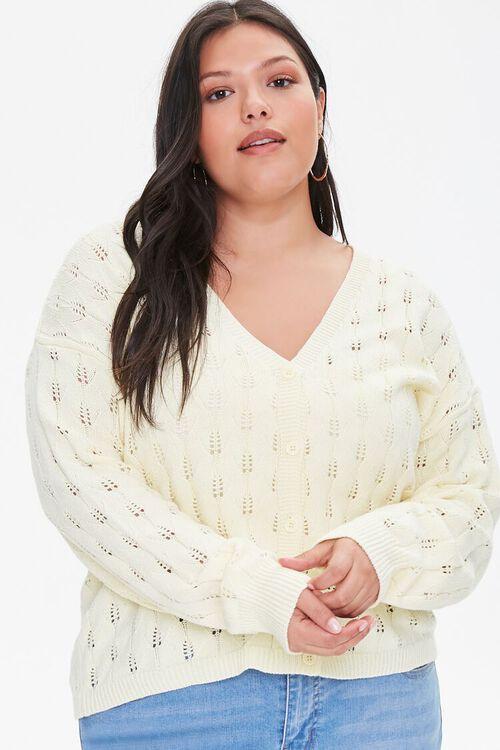 Plus Size Open-Knit Cardigan Sweater, image 1