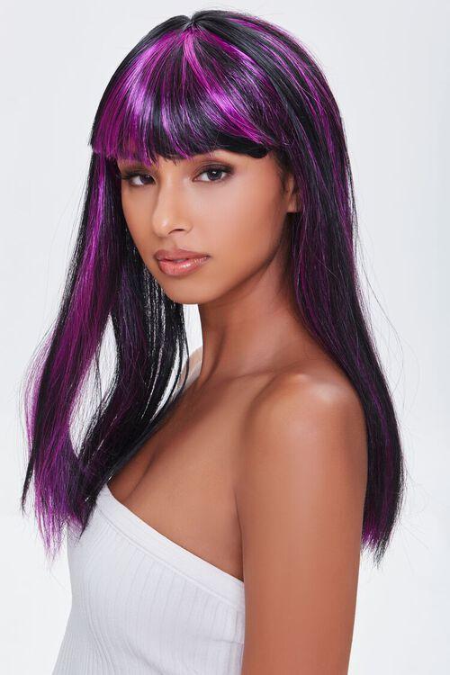 BLACK/MULTI Synthetic Purple-Highlight Bang Wig, image 1