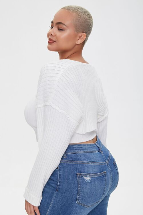 Plus Size Cropped Cardigan Sweater, image 2