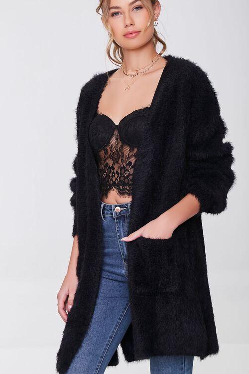 BLACK Fuzzy Knit Cardigan Sweater, image 1
