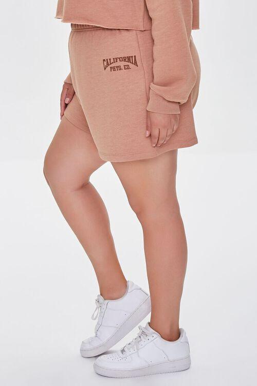 TAUPE/BROWN Plus Size Fleece California Shorts, image 3
