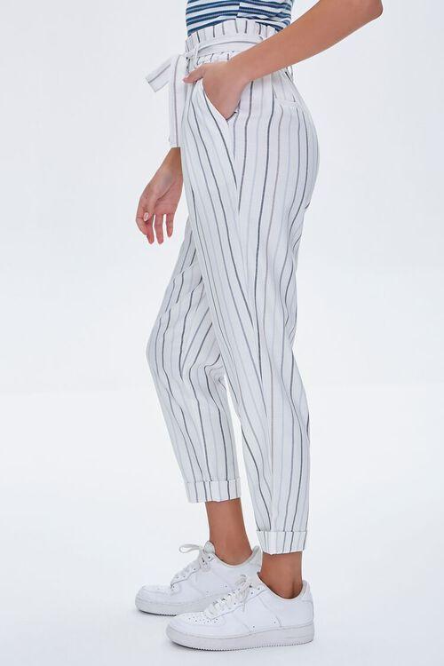 IVORY/BLUE Striped Paperbag Pants, image 3