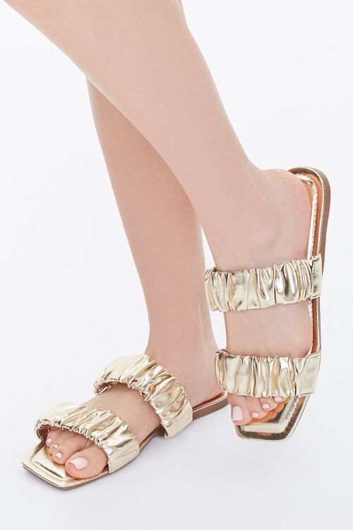 Metallic Ruched Sandals, image 1