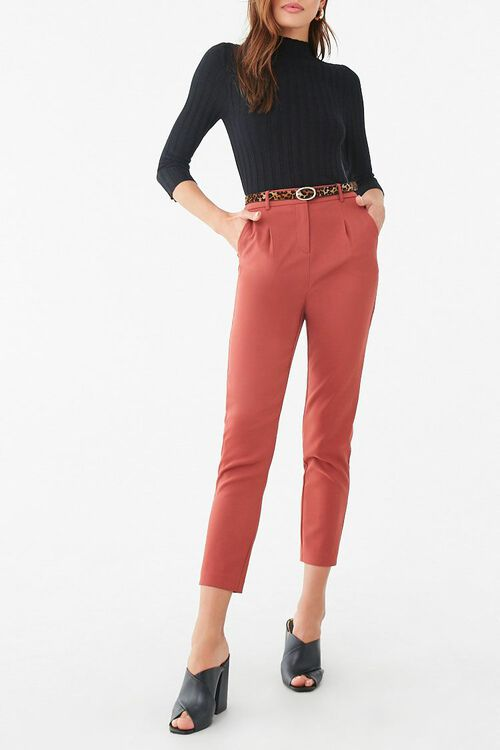 Belted Hook-and-Eye Ankle Pants, image 1