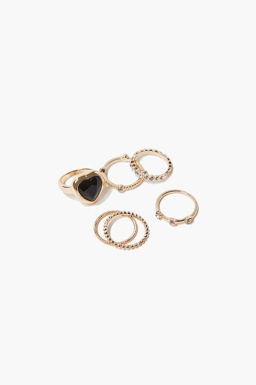 Faux Opal Heart Charm Ring Set, image 1