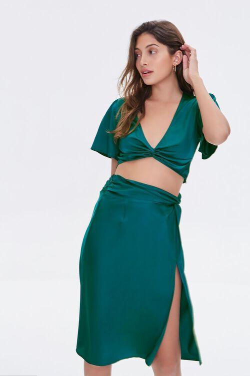 BLUE Gathered Satin Slit Skirt, image 1