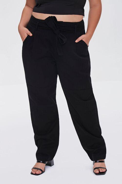 Plus Size Sash-Belt Cargo Pants, image 2