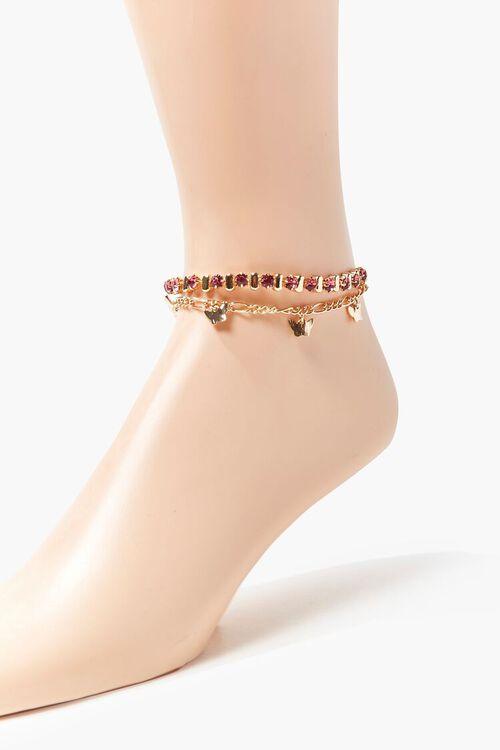 Faux Gem & Butterfly Charm Anklet Set, image 1