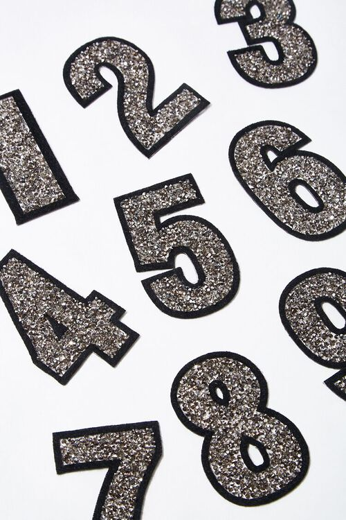 SILVER3 Iron-On Glitter Number Patch, image 1