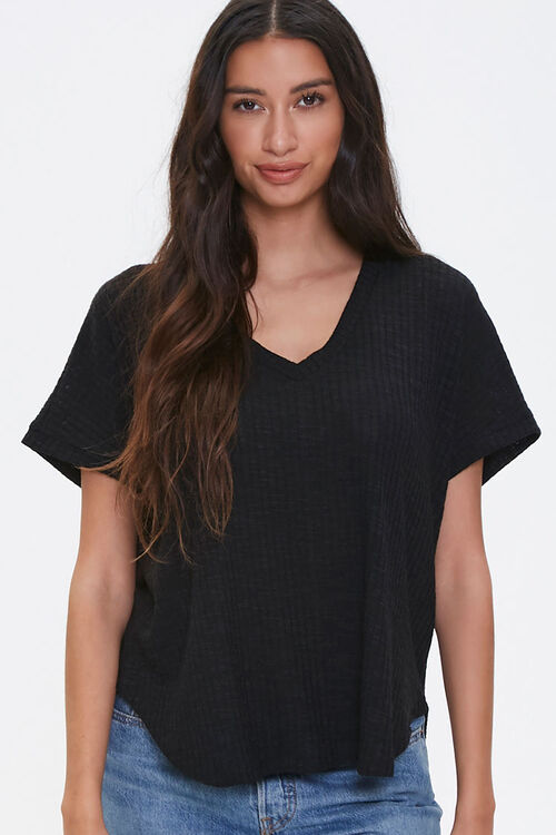 Ribbed Knit Dolphin Tee, image 1