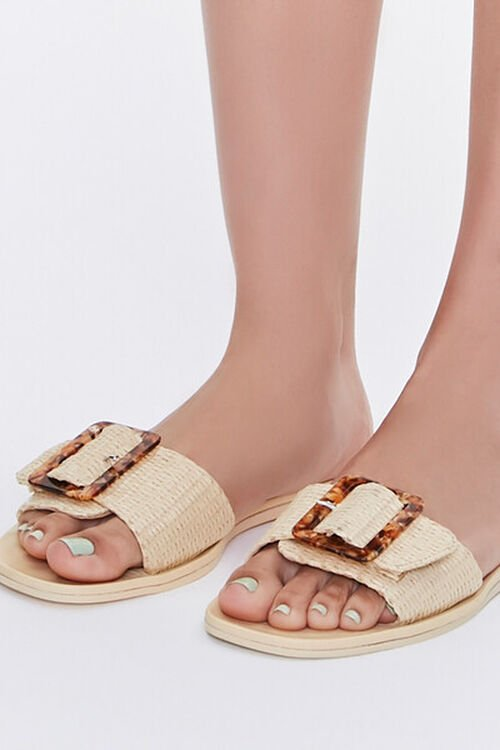 Buckled Straw Flat Sandals, image 5