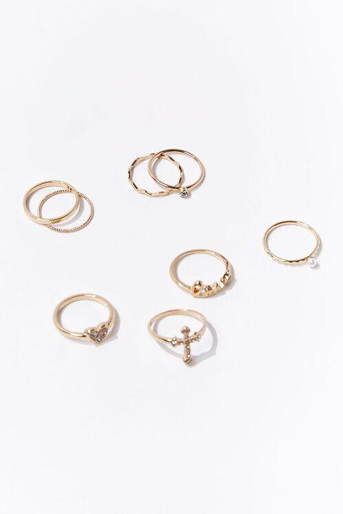 Faux Gem Cross Charm Ring Set, image 1