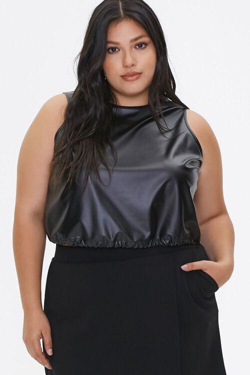 Plus Size Faux Leather Crop Top, image 1