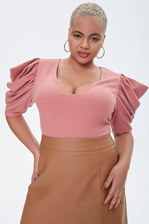 Plus Size Puff-Sleeve Bodysuit, image 1