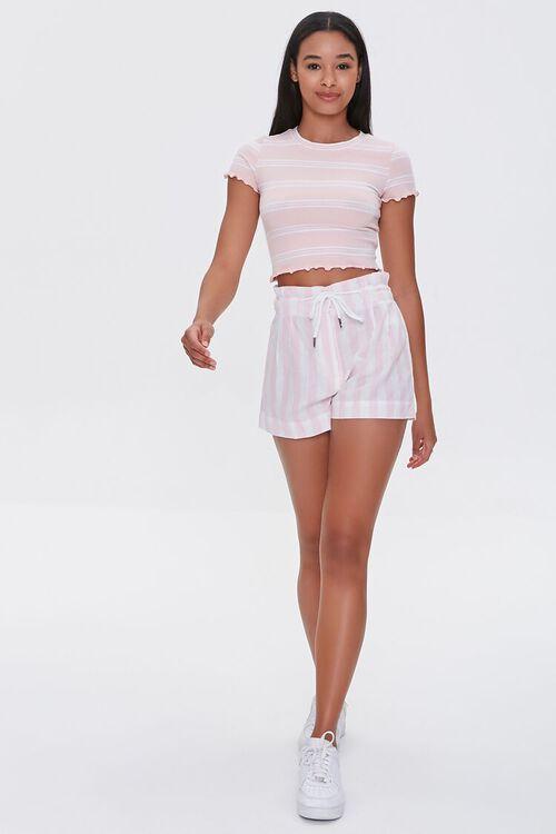 Striped Drawstring Paperbag Shorts, image 5