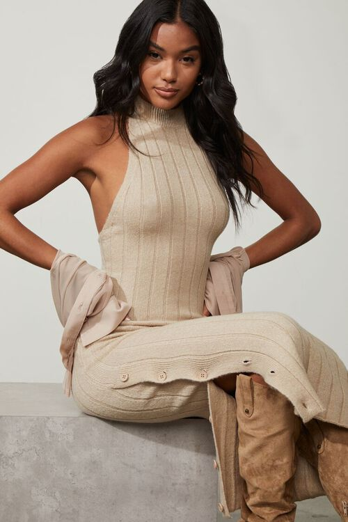 TAUPE Sweater-Knit Ribbed Halter Midi Dress, image 1