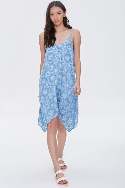 BLUE/CREAM Ornate Print Handkerchief Dress, image 4