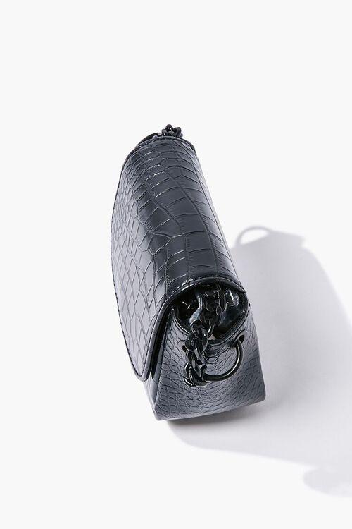 BLACK Faux Croc Leather Crossbody Bag, image 2