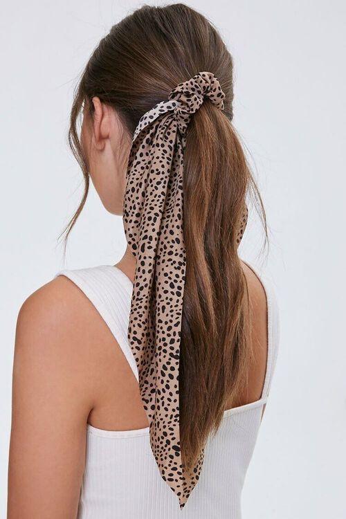 TAUPE/BLACK Cheetah Print Bow Scrunchie, image 1