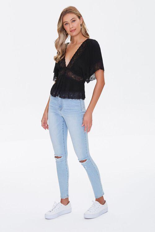 Lace-Trim Button-Front Top, image 4
