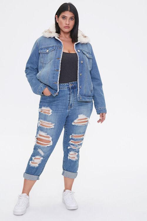 Plus Size Faux Fur-Trim Denim Jacket, image 4