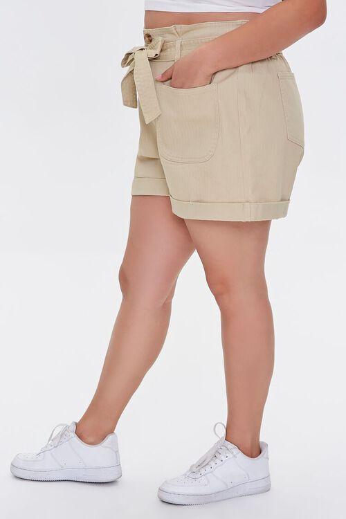 Plus Size Sash-Belt Cuffed Shorts, image 3