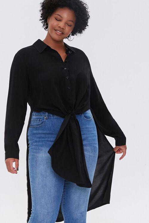 Plus Size Knotted Longline Shirt, image 1