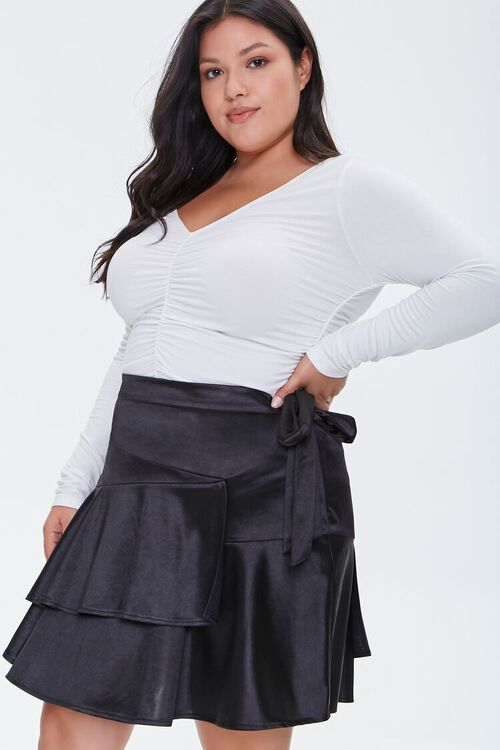 Plus Size Satin Ruffle Mini Skirt, image 1