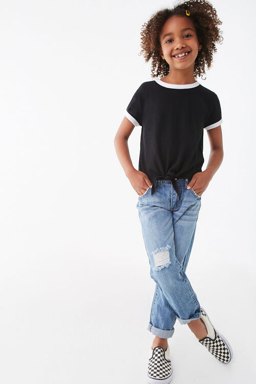 Girls Knotted Front Ringer Tee (Kids), image 4