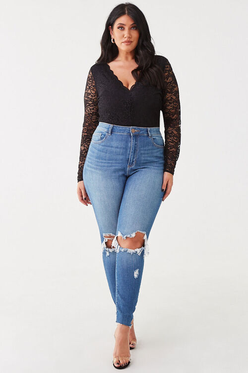Plus Size Floral Lace Bodysuit, image 4