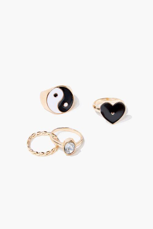 Yin Yang & Heart Charm Ring Set, image 1