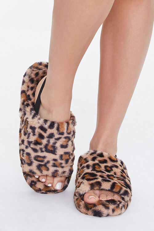 Faux Fur Open Toe Slippers, image 4