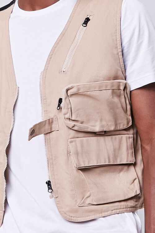 TAUPE Zip-Up Utility Vest, image 5