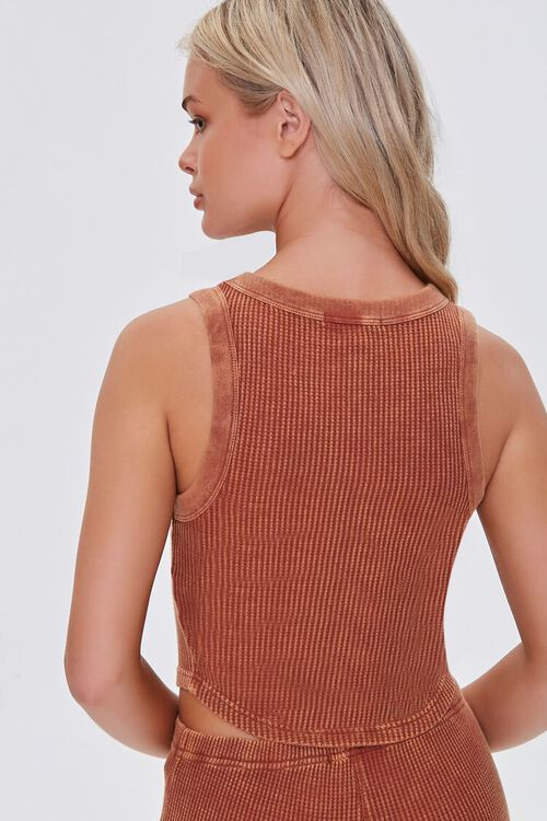RUST Waffle Knit Cropped Tank Top, image 3