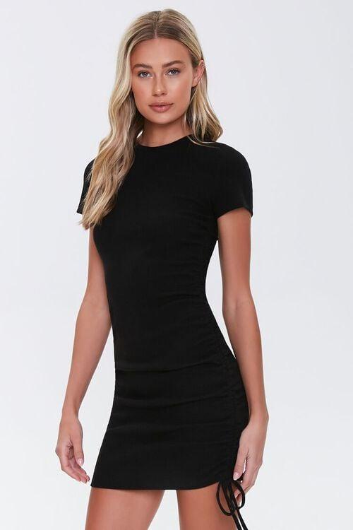 Ruched Drawstring T-Shirt Dress, image 1