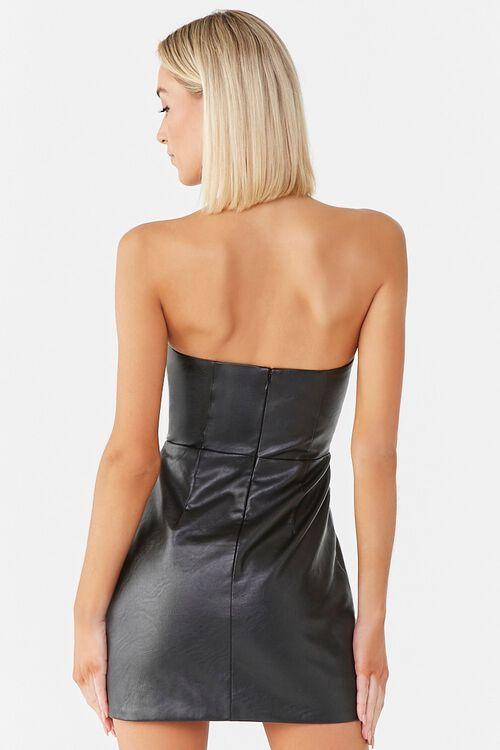 Faux Leather Mini Dress, image 3