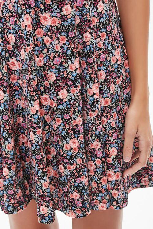 BLACK/MULTI Floral Print Mini Dress, image 5
