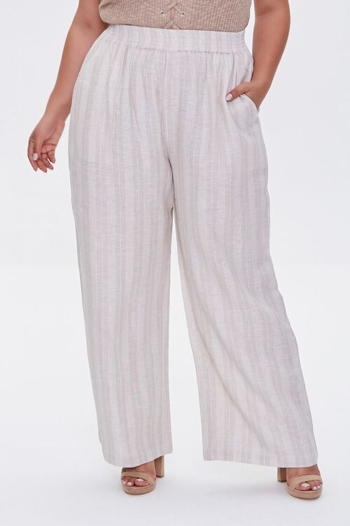 KHAKI/IVORY Plus Size Striped Linen Pants, image 2