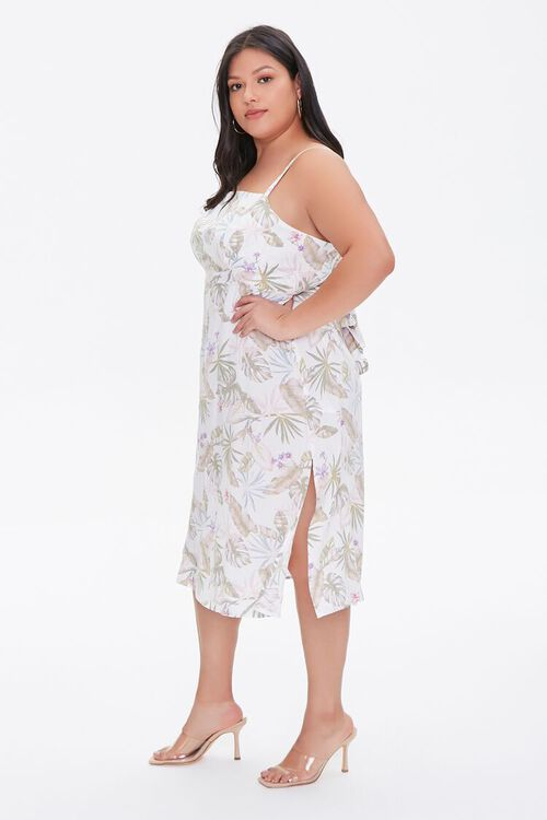 Plus Size Tropical Leaf Print Dress, image 2