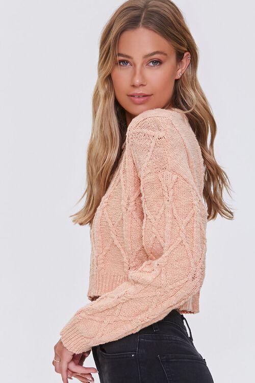 PEACH Cotton-Blend Lattice Sweater, image 2