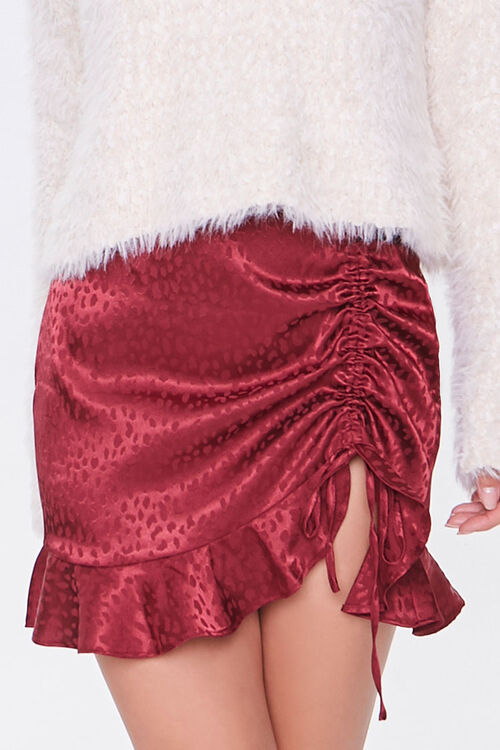 Satin Cheetah Print Mini Skirt, image 2