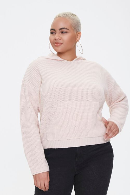 Plus Size Sweater-Knit Hoodie, image 1