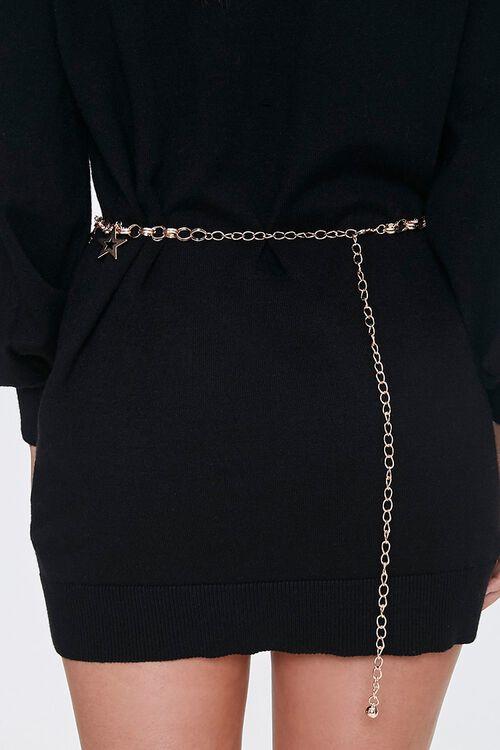 GOLD/MULTI Star Charm Chain Waist Belt, image 3