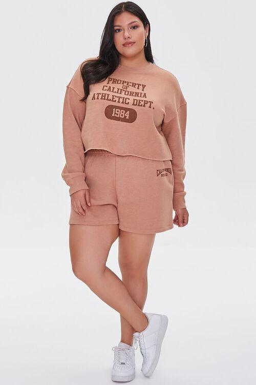 TAUPE/BROWN Plus Size Fleece California Shorts, image 5