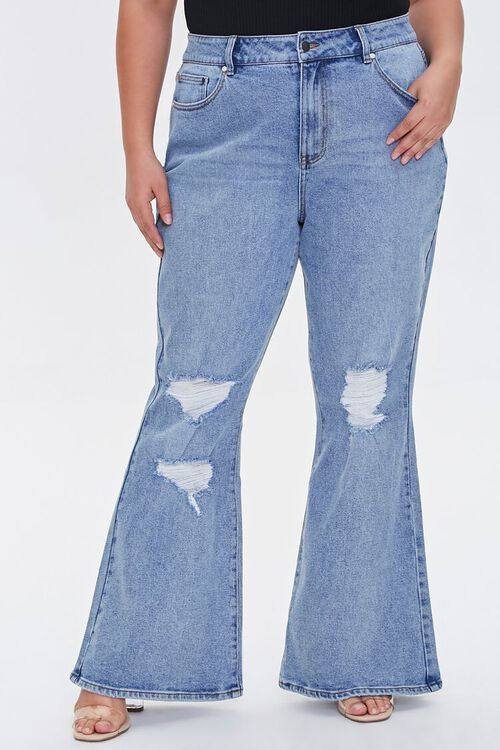 Plus Size Distressed Flare Jeans, image 2