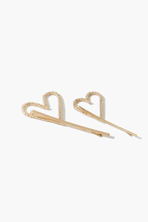 Rhinestone Heart Cutout Bobby Pins, image 2