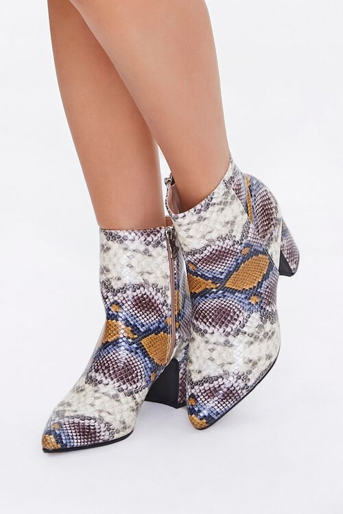 Faux Snakeskin Booties, image 1