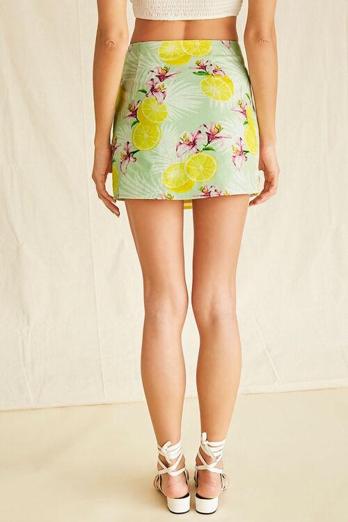 Tropical Lemon Print Mock Wrap Skirt, image 4