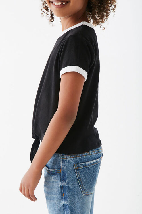 Girls Knotted Front Ringer Tee (Kids), image 2
